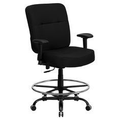 Flash Furniture HERCULES Series Big & Tall Fabric Drafting Chair with Extra WIDE Seat and Height Adjustable Arms - WL-735SYG-BK-AD-GG