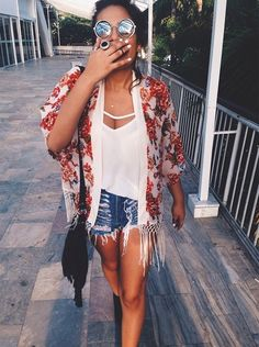 Boho glam... Love the top but no to the shorts.