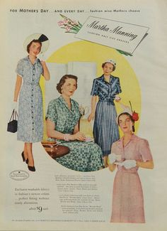 1950's Mothers Day fashion ad - Martha Manning half-size women's dress ad, pink and blue ladies' styles advertising, pastel garments