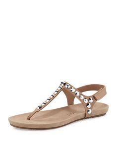 "Pedro Garcia jeweled suede sandal. Flat heel. T-strap vamp. Grip-strap halter. Contoured footbed. Rubber outsole. ""Judith"" is made in Spain."