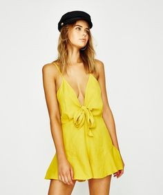 Don't Ask Amanda Soft Bow Front Playsuit Gold Sun | Playsuits | Clothing | Shop Womens | General Pants Online