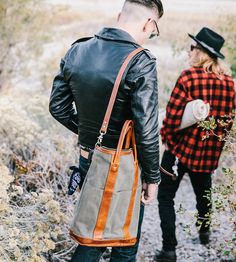 Canvas & Leather Helmet Tote Bag | Inspired by WWII aviator bags
