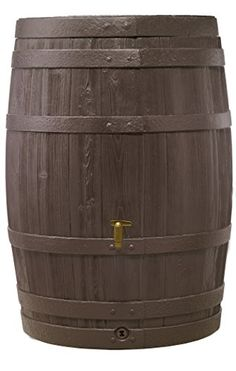 Exaco Trading Company VINO L 295631 Large Style Rain Barrel with Fast Flow Tap 110 gallon Dark Brown ** You can find out more details at the link of the image.