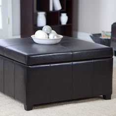 Cape Town Large Leather Storage Ottoman - There's an old saying in the world of home decor: It's not the size of the ottoman that counts, it's what's inside. Well, in the case of the Cape Town...