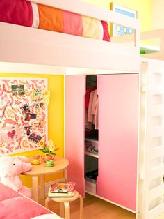 Secret Storage - Effective storage solutions prevent some of the frustration of an overcrowded and disorganized shared room. A closet, tucked below the loft bed, easily holds the sisters' clothes. The bed configuration also leaves room for a play table, stools, and a bulletin board to display artwork.
