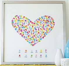Here is an easy DIY Gift Idea. This Framed Finger Print Heart only cost pennies to make and is very unique.