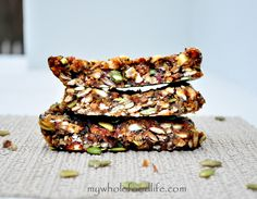 Maca Energy Bars  1 cup almonds 1/2 cup sunflower seeds 1/2 cup flax meal 1/2 cup pepitas 2 T chia seeds 2 T maca powder 1/4 cup map...