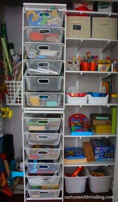5 awesome tips for playroom organization from a child psychologist. Don't miss the closet and the wall storage ideas! #ikeahacks