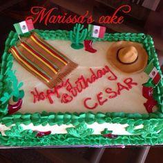 Mexican birthday cake. Visit us Facebook.com/marissa'scake.