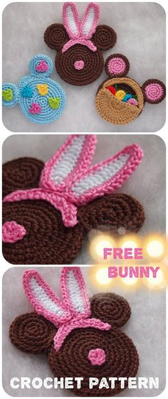 easter crochet patterns The Easter Bunny Minnie Mouse FREE crochet pattern. Easter Crochet Patterns, Crochet Motif, Crochet Crafts, Crochet Hooks, Crochet Projects, Free Crochet, Knitting Patterns, Half Double Crochet, Single Crochet
