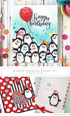 """Welcome to Throwback Thursday! Today, a few of our design team members are revisiting the Winter Penguin stamp set. """"These little penguins can't help but make you happy! Come see how I used some simple masking to stamp a whole pile of these cuties…all dress up and ready to wish someone a ve"""