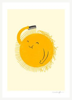 Bad Hair Day by Lim Heng Swee: Giclée print.#Illustration #Sun #Lim_Heng_Swee