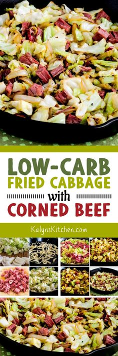 If you're lucky enough to end up with a little leftover corned beef, this Low-Carb Fried Cabbage with Corned Beef is a quick and delicious way to use it, and this recipe is low-carb, Keto, gluten-free, dairy-free, and low-glycemic. [found on KalynsKitchen.com] #LowCarb #LowCarbCornedBeef #CornedBeefandCabbage #FriedCabbagewithCornedBeef #StPatricksDay #LeftoverCornedBeef