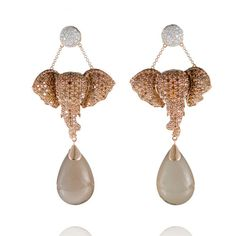 Lydia Courteille  Diamond Eléphants earrings in gold and moonstone