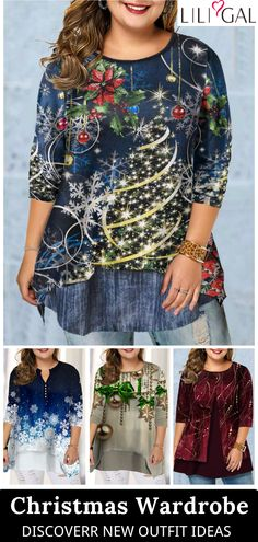 plus size tops Christmas Tops, Holiday Tops, Fancy Dress Accessories, Costume Accessories, Plus Size T Shirts, Plus Size Tops, Pork Lion, New Outfits, Cool Outfits
