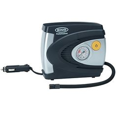 RING RAC610 12V Analog Tire Compressor, Inflates fully deflated car tire in 4.5 minutes - An analog compressor can inflate a fully-deflated car tire in under 4.5 minutes. It has an air flow rate of 18-20 L/min. Fitted with a fused 12 V power plug and a 2.9 m power cord (approx.). Flexible air hose 48 cm (approx.) with screw stem connector. CE-approved. Inflates to a max pressure of 10...