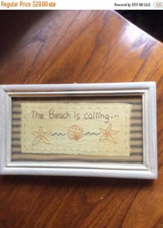Summer Sale Gorgeous hand stitched The Beach is Calling by EMTWTT