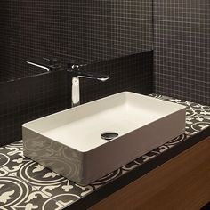 In the public washrooms of the East West in Basel stands the Living washbasin #bathroomdesign #interiordesign #hoteldesign #basel #saphirkeramik