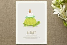slow & steady baby shower invitations