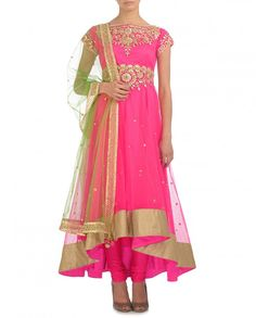 Hot Pink Suit with Gota Embellished Empirical Line - Suits - Apparel - Wedding PREETI S. KAPOOR