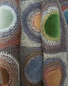 Coeur velvet large scarf - Sophie Digard crochet and velvet