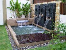 kolam ikan minimalis halaman rumah is part of Ponds backyard - Small Water Gardens, Small Backyard Gardens, Ponds Backyard, Backyard Landscaping, Modern Pond, Modern Garden Design, Small House Garden, Garden Houses, Mini Piscina