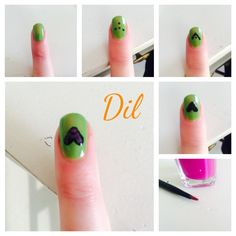 #nails#green#cuore