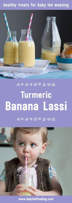 A delicious blend of banana, turmeric and milk which can also be frozen to become a perfect teething recipe for baby led weaning. #babyledweaning #blw #kidfood #kidfriendlyfood #babyfood #toddlerfood