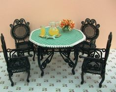 Dollhouse Miniature Furniture Green Table and 4 Chairs Garden 1/12 dolls house miniatures on Etsy, $29.09
