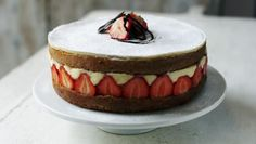 An incredibly pretty French cake filled with delicious strawberries and crème pâtissière. Tricky to achieve but certain to impress.