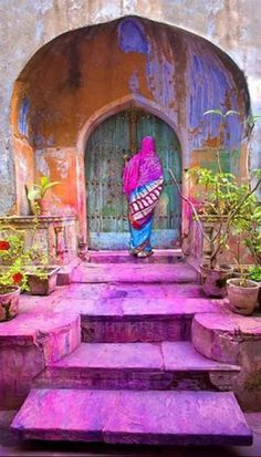 Colorful entry in the old city of Delhi, India