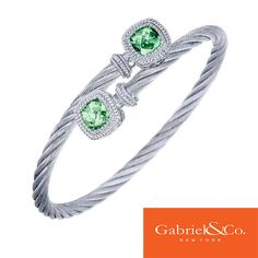 Beautiful 925 Silver/Stainless Steel Green Amethyst Bangle by Gabriel & Co. The green amethyst stones are absolutely gorgeous! Pair this along with a few other Gabriel colored bangles. Find your local Gabriel retailer at our website www.gabrielny.com