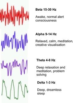 """TJ. Before I get into specifics, it is important to realize that when I refer to a certain brain wave, I am implying that a particular brain wave is """"dominant."""" Throughout the day in your waking state, your EEG will display all 5 types of brain waves at the same time.  However, one particular brain wave will be dominant depending on the state of consciousness that you are in.  For example, if you are awake, but have really bad ADHD, you may have more slow wave (alpha and/or theta) activity…"""