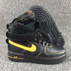 online store 97406 bfb88 Nike Special Forces Air Force 1 High Boots Noir Jaune Femmes Hommes Pas  Cher Air Max