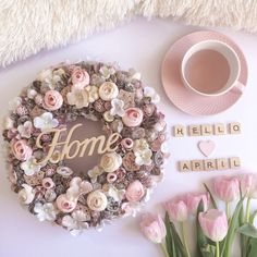 Flower Crafts, Diy Flowers, Outdoor Wreaths, Hello Spring, Spring Colors, Porch Decorating, Floral Wreath, Paper Crafts, Afrikaans
