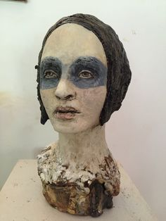 black and white - head - woman with mask - figurative sculpture - Debra Fritts