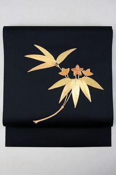Black Hassun Nagoya Obi, Gold Embroidery Bamboo Leaves Pattern / 黒地 金の刺繍笹竜胆お太鼓柄 化繊八寸名古屋帯 【リサイクル着物・アンティーク着物・帯の専門店 あい山本屋】#Kimono #Japan