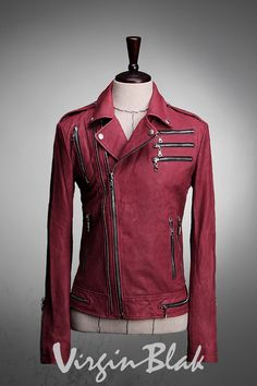 Zipper Embellished Lambskin Leather Biker Jacket by Virgin Blak