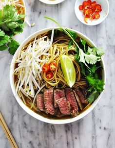 Asian Beef & Noodle Soup (Fuss Free Pho) - the beef broth was made with only 5 ingredients! #pho #beef #recipe