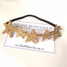 SO ADORABLE! Golden Stars Geadband Shine like the Stars by GlamBOWtiqueShop