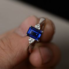 Lab Sapphire Ring Silver Gemstone Ring September Birthstone Ring Emerald Cut Sapphire Ring promise Ring For Her