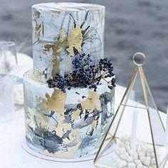 This haute hexagonal wedding cake is everything.