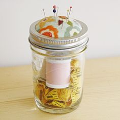DIY #MasonJar Pin Cushion tutorial from @Gina @ Shabby Creek Cottage / @Karen - The Graphics Fairy. Never get tired of this cute idea! Great step-by-step photos.