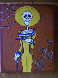 Original Art on Canvas -  Mexican Dia De Los Muertos - La Calavera Catrina