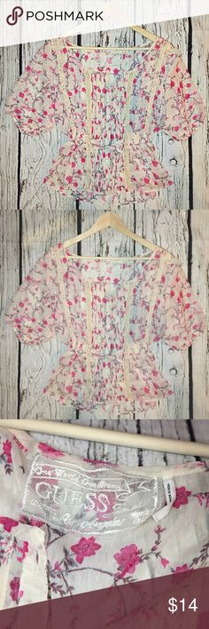 Floral and Lace Blouse Amazing detail adorns this top. Beautiful buttons up the front with a small tie at waist. Peasant feel. •No returns, no trades •10% discount on 3+ items Guess Tops