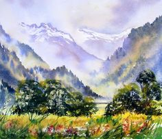 A Watercolour painted in Summer looking towards Sixt from beautiful Samoens
