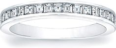 Square Emerald Cut Channel-Set Diamond Band  : This sleek wedding band design features 17 square emerald cuts that are channel-set going half-way around the band.