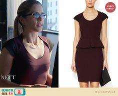 Felicity's purple cap sleeved peplum dress on Arrow. Outfit Details: http://wornontv.net/27117 #Arrow #fashion