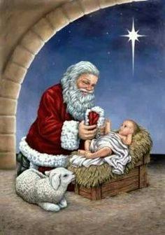 santa pictures christmas pictures santa clause santa baby holiday cards christmas nativity spiritual quotes postcards ornaments - Santa And Jesus
