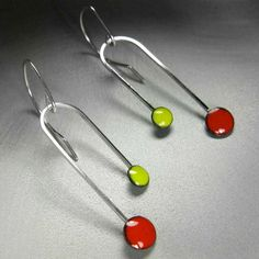 Double Dipper Enamel Earrings Geranium Red and by marstinia, $42.00